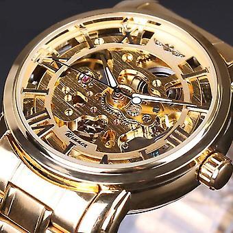 28 Full Steel Strap Men Watch Skeleton Self-Wind Mechanical Wrist Watch