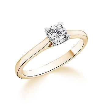 9K Yellow Gold Petite Cathedral 4 Prong Setting 0.30Ct Certified Solitaire Diamond Engagement Ring