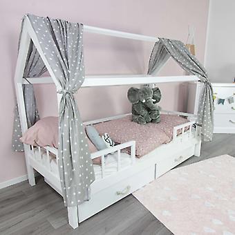 Puckdaddy House Bed Curtain Frida 146x298cm Conjunto de 2 Tecido Céu com Padrão Estelar em Cinza