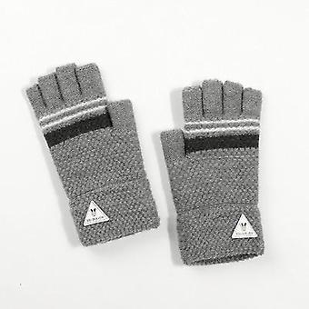 Children's Half-finger Autumn And Winter Windproof And Long Fingerless Gloves