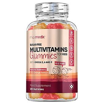 Multivitamin Gummies for Kids - 120 Gummies With Omega 3, 6 & 9 - Tasty Strawberry and Orange Flavour - For 4 to 12 Years Childrens