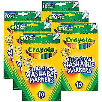 Ultra-Clean Marker, Feine Linie, klassische Farben, 10 pro Packung, 6 Packungen