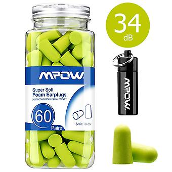 Mpow hp055a 055a, 34db snr soft foam, 60 pairs earplugs with aluminum carry case, noise reduction sp