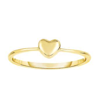 ك 14 قلب منتفخ الذهب الأصفر الدائري، حجم 7