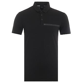 Armani Exchange Tape Logo Polo Shirt - Black