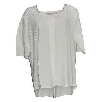 Anyone Women's Plus Top Cozy 3/4 Sleeve Button Scoop Neck White A377739