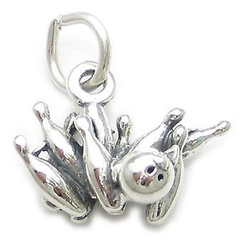 Bowling Strike Sterling Silver Charm .925 X 1 Ten Pin Strikes - 3766
