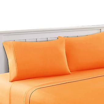 Bezons 3 Piece Twin Size Plain Sheet Set The Urban Port, Orange