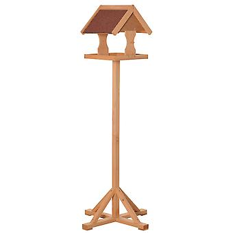 PawHut Wooden Bird Feeder Table Freestanding with Weather Resistant Roof Cross-shaped Support Feet for Outdoor Garden Backyard Decorative Pre-cut 55 x 55 x 144cm Natural
