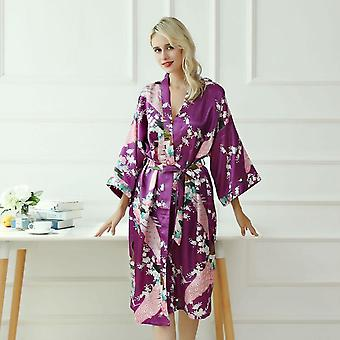 Lady  Japanese Kimono Yukata Dress With Belt Satin Silk Cardigan Pajamas