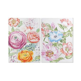 Painting Dekodonia Flowers Multicolour Wood (2 pcs) (70 x 3 x 100 cm)