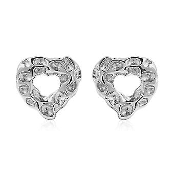 Rachel Galley Heart Stud Earrings for Women Silver Stamped Gift for Wife