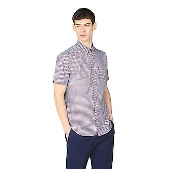 Chemise à manches courtes à carreaux bleu et rose