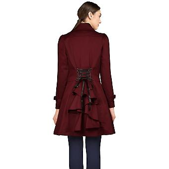 Chic Star Lace-Up Ruffled Jacket In Burgundy