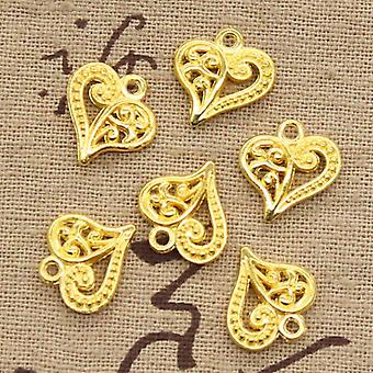 Charms Hollow Lovely Heart 15x14mm Handmade