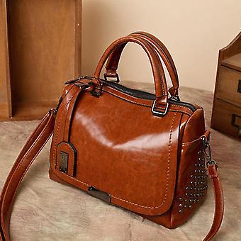 Stor kapacitet märke olja vax läder nit boston väska högkvalitativ kvinnlig crossbody tote shouler väska