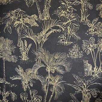 Leopard Jungle Wallpaper Black Gold