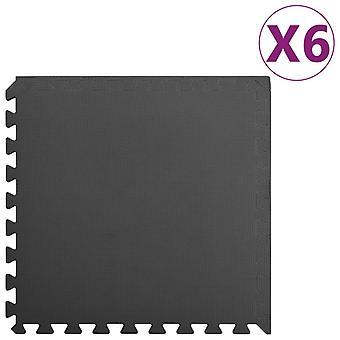 vidaXL Floor mats 6 pcs. 2.16 m2 EVA foam Black