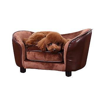 PawHut Luxury Pet Sofa Dog Bed Chair Puppy Cat Kitten Soft Mat Home Indoor Couch House w/ Cushion Coffee (Small)
