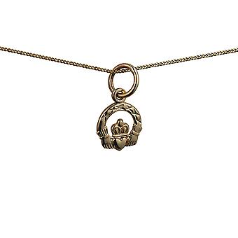 9ct Gold 8x6mm diamond cut Claddagh Pendant with a curb Chain 16 inches Only Suitable for Children