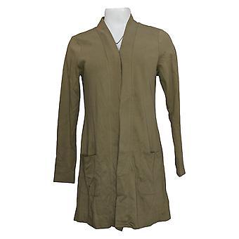 Isaac Mizrahi Live! Women's Sweater Open Front Knit Cardigan Green A374242