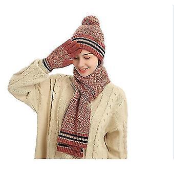 3 szt Winter Hat Szalik i rękawiczki Zestaw dla mężczyzn i kobiet (RED)