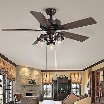 Ventilateur de plafond LED brun de 52 pouces avec 5 lames et télécommande