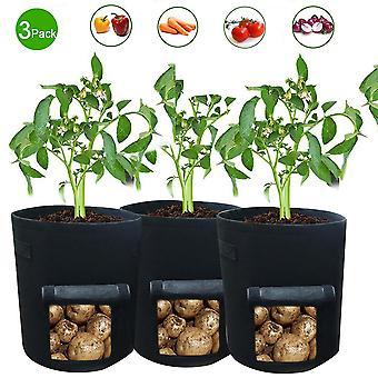 Grøntsagsplantning poser, 3 mellemstore åndbare haven plantning poser, synlige husstand urtepotter med håndtag