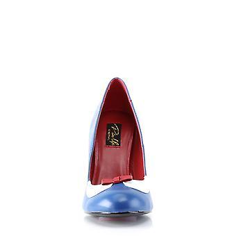 Pin mujeres's zapatos arriba azul marino-Wht Pu