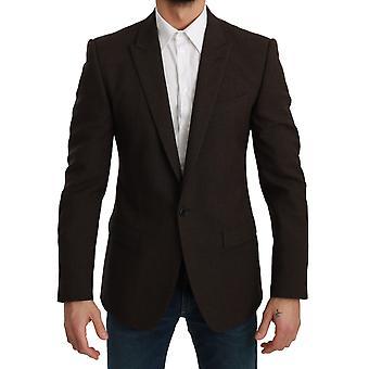 Ruskea slim fit takki martini bleiseri miehille