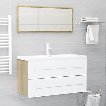 vidaXL 2 pezzi. Set di mobili da bagno Truciolato bianco e sonoma oak