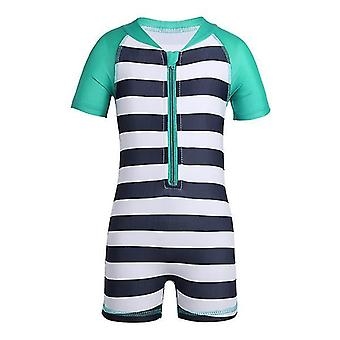 Baby One Piece Short Sleeve Striped UPF 50+ Sun Protection Swimsuit 12-18months