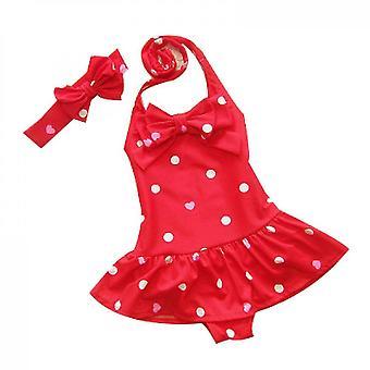 Baby Girls Plavky Jednodílné plavky Plážové oblečení s čelenkou (80cm)