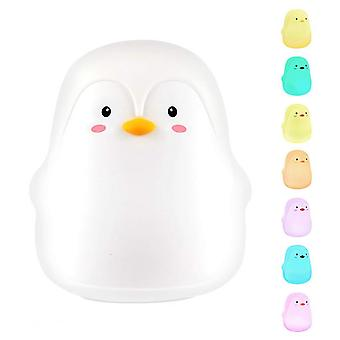 Penguin Night Light Touch Sensor Lamp Silicone Usb Bedside Light With 7 Led Colors