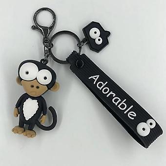 Tecknad nyckelkedja Pvc Zebra Giraff Nyckelring för nyckelring
