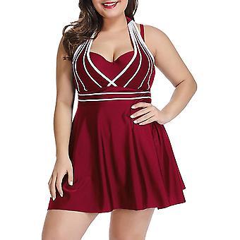 Womens Halter Swimdress Plus Size Two Piece Swimsuit Set-4xl-wine