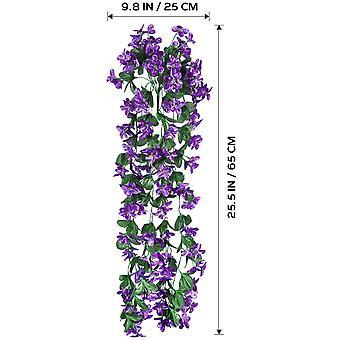 תליית זר פרחים מלאכותי, ויסטריה תלויה פרחים מלאכותיים לקישוט חתונה (סגול כהה)