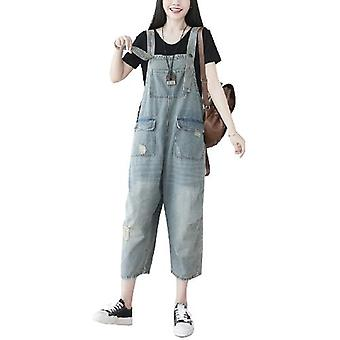 Woman Loose Demin Ripped Jeans Loose Overalls