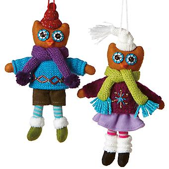 Boy and Girl Owls Dressed in Sweaters Holiday Ornaments Set of 2 Midwest CBK