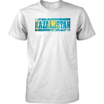 Kasachstan Grunge Land Name Flag Effect - T-Shirt für Herren