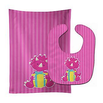 Каролинских сокровища BB8924STBU динозавр розовый #2 ребенок нагрудник & Берп Ткань
