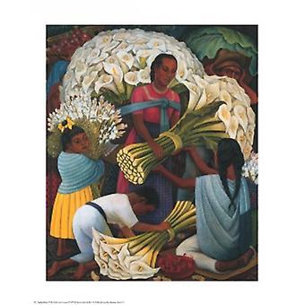 طباعة ملصق بائع الزهور قبل دييغو ريفيرا (24 × 30)