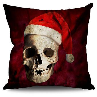 Skull Hat Santa Linen Cushion 30cm x 30cm | Wellcoda