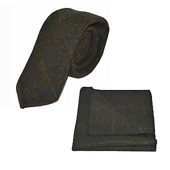 Luxury Juniper Green Herringbone Check Tie & Pocket Square Set, Tweed