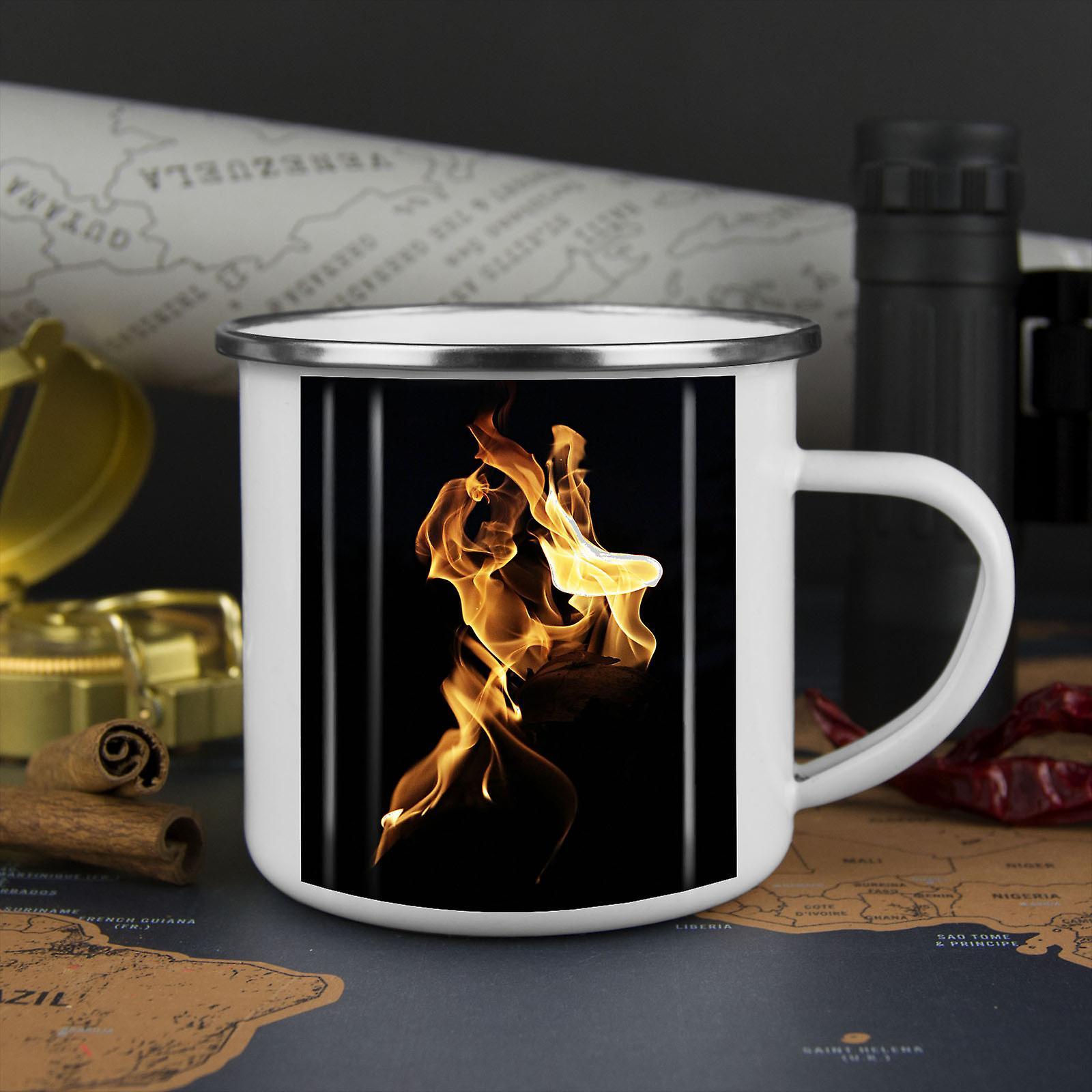 Flamme Feuer heiß Natur neue WhiteTea Kaffee Emaille Mug10 oz | Wellcoda