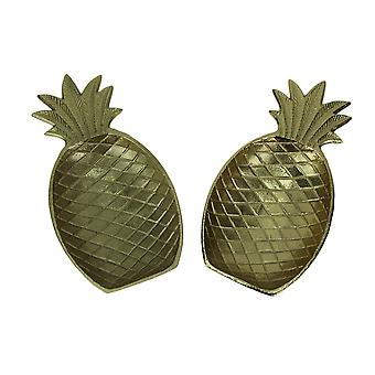 Golden Pineapple Decorative Metal Tray Set of 2
