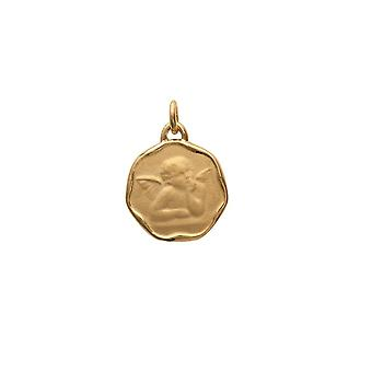 Bapteme Pendant medal Woman-Man-Child Angel and Yellow Gold Plated 7729