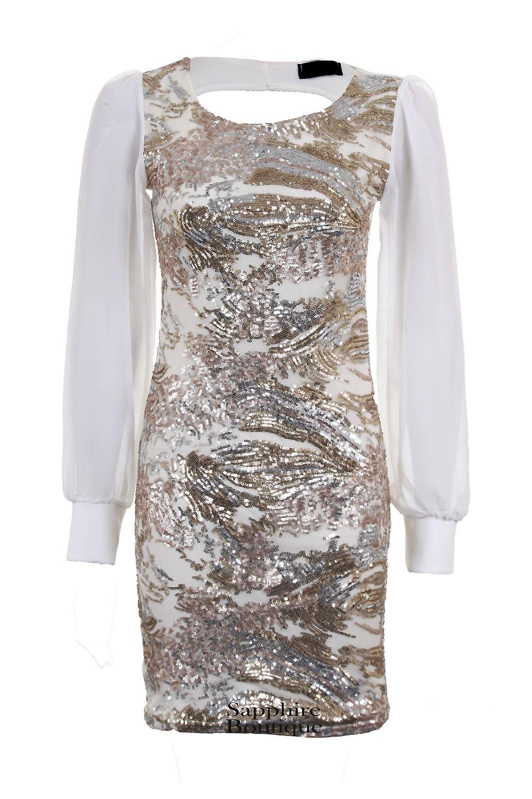 Ladies Long Sleeve Chiffon Silver Black Gold Women's Bodycon Sexy Party Dress