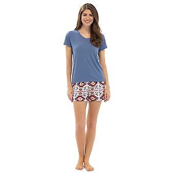 Pyjama Damen Azteken Design T-Shirt Top & Pyjama Set Sommer Lounge Hosen