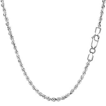 Sterling Silver Rhodium Plated Diamond Cut Rope Chain Necklace, 2.2mm